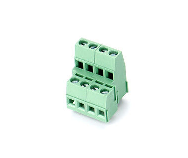 Dual Row PCB Pluggable Terminal Block , M3 Steel 5.08mm Pitch 2*04P Green PA66 SN
